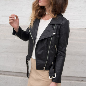 Ellie Vegan Leather Moto Jacket