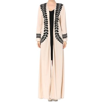 Women Lady Printed Open Front Kaftan Muslim Cardigan Maxi Loose Robe