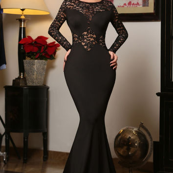 Black Long Lace Sleeve Mermaid Evening Prom Dress