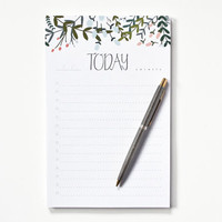 Floral To Do Notepad | Daily Planner Notepad with Hand Illustrated To Do List : The Garden Wreath Collection