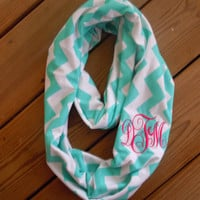 Chevron Monogram Infinity Loop T-Shirt Scarf Cotton Jersey Knit