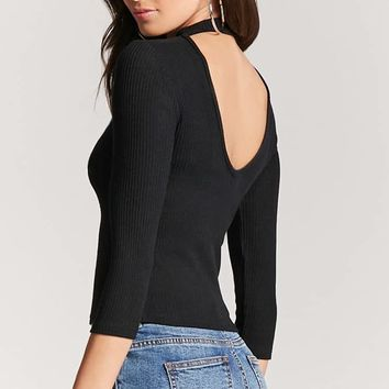 Cutout Ribbed Top