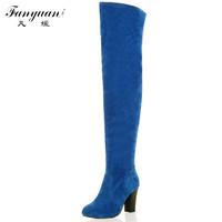 2015 New Discount  Round Toe Solid Over The Knee High Boots Fashion Women Shoes Ladies Medium Heel Autumn Boots