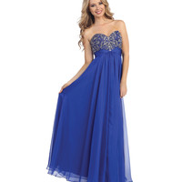 Royal Blue Strapless Beaded Empire Waist Chiffon Gown 2015 Prom Dresses