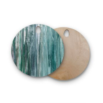 """Ebi Emporium """"Waterfall Blur, Teal Blue"""" Teal Blue Abstract Coastal Painting Mixed Media Round Wooden Cutting Board"""