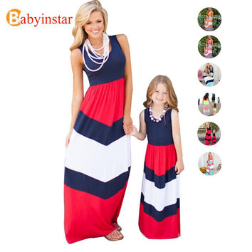 NEW 2017 Fashion Family Matching Outfits Patchwork Striped Mother Daughter Dress Family Apparel Outerwear Casual Family Look