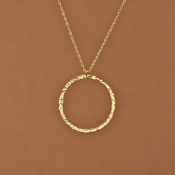 Gold circle necklace - gold hoop necklace - simple - gold disc necklace - a 22k gold plated hammered hoop on a 14k gold vermeil chain
