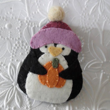 Penguin Ornament Felt Pumpkin Decoration Primitive Felted Winter Hat