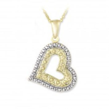 18K Gold over Sterling Silver Diamond Accent Floating Heart Necklace