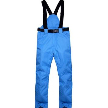New Winter Solid Warm Snow Snowboard Trousers With Shoulder Straps Waterproof  Windbreak  Colorful  Women Man Outdoor Ski Pant