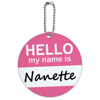 Nanette Hello My Name Is Round ID Card Luggage Tag