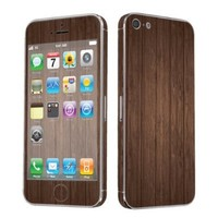SkinGuardz Vinyl Decal Protective Sticker Skin for Apple iPhone 5 - (Brown Wood)