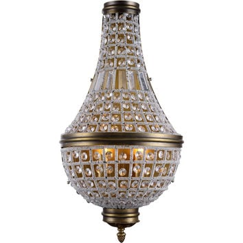 "Stella 13.5"" W Wall Sconce, French Gold Finish, Clear Crystal, Royal Cut"