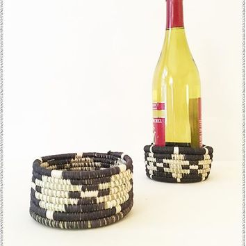 Black + White Wine Coaster