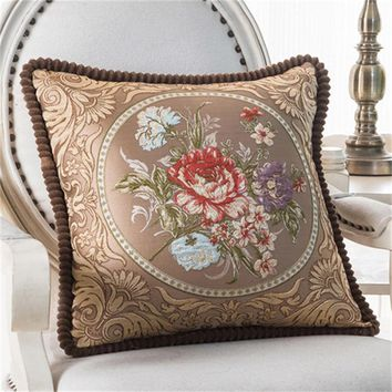 "HOMIN high quality  luxury Decorative Sofa Cushion silk felling  Throw Pillow  18"" Vintage Decorbox satin Linen   PC0008"
