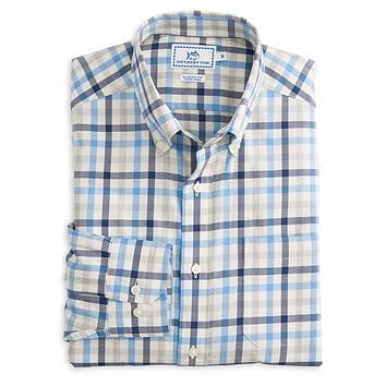Gap Creek Multi-Gingham Sport Shirt in Ocean Channel by Southern Tide