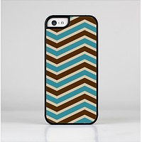 The Vintage Wide Chevron Pattern Brown & Blue Skin-Sert Case for the Apple iPhone 5c