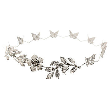 Silver Butterfly Leaf Crown