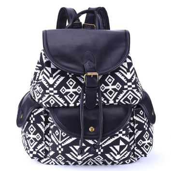 women s large canvas aztec ethnic daypack backpack travel bag 2