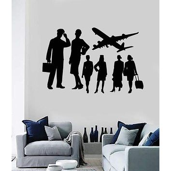 Vinyl Decal Wall Sticker Airplane Crew Airline Avia Company Decor Unique Gift (M647)
