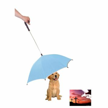 Pour-Protection Umbrella With Reflective Lining And Leash Holder - Light Blue With Black Handle