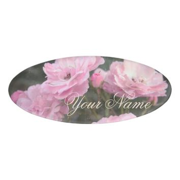 Vintage design. Photo of pink roses. Add your text Name Tag