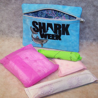 SHARK WEEK  Tampon & Maxi Pad Taxi Zippered Fabric Purse Pouch / Tampon Keeper