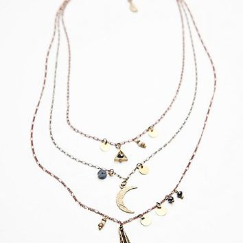Free People Womens Cherish 3 Chain Necklace