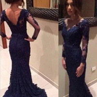 Dark Blue Long Sleeve Prom Dress Long Sleeve Prom Dresses Evening Dresses