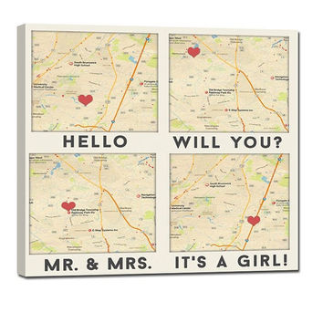Top Gift Idea Custom Map art with 4 of your special locations canvas gift for wife or husband