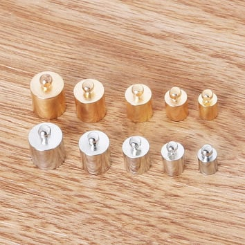 Fitting 4/5/6/7/8mm Round Leather Cord Multi size quantity Brass Bell Buckle Clasps Hooks for choose End Caps Jewelry Findings