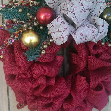 Rustic Christmas Fall Wreath Burlap Red Wreath Rustic Christmas Decor