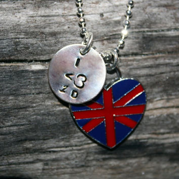 I love One Direction 1D Charm with British Flag Charm Necklace Pendant