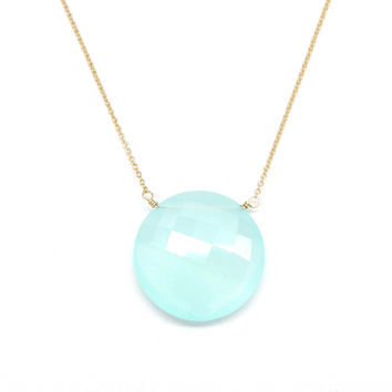 Large Round Aqua Chalcedony Pendant Necklace