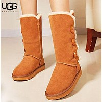 UGG Fashion New Button Solid Color Women Men Keep Warm Fur Shoes Boots