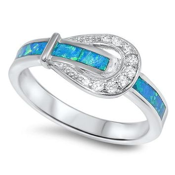 Sterling Silver Belt Buckle CZ Blue Lab Opal 8MM
