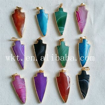 WT- P730 Multicolor stone spear necklace arrowhead shape stone spear necklace in gold trim for women