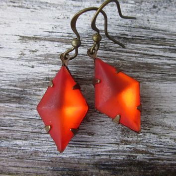 Unique Fire Orange Vintage Swarovski Earrings, Red Earrings, Swarovski Jewelry, Earring, Vintage, Mothers Day, Gift for Her, Gift Idea, Wife