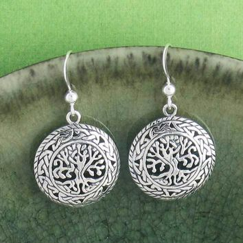 Celtic Tree of Life Medallion Earrings