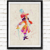 Captain Hook Watercolor Print, Peter Pan Baby Nursery Decor, Wall Art, Home Decor, Gift Idea, Not Framed, Buy 2 Get 1 Free!