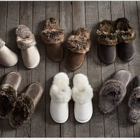 New Winter Women Men Warm Indoor Shoes Slippers Leather Plush Cotton Slippers Lovely Couple Home Shoes Large Size