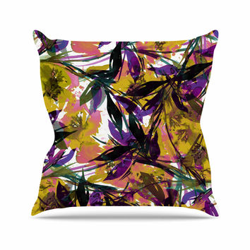 "Ebi Emporium ""Floral Fiesta - Yellow Purple"" Gold Lavender Outdoor Throw Pillow"