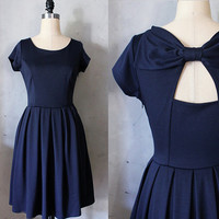 HOLLY GOLIGHTLY NAVY  Navy blue dress with by FleetCollection