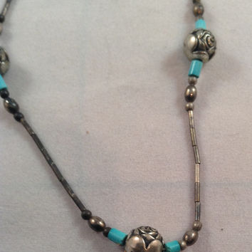 Liquid Silver & Turquoise Beaded Necklace with Silver Rose Beads, Native American