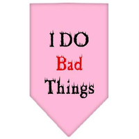 I Do Bad Things  Screen Print Bandana Light Pink Small