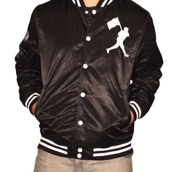 Vintage Flag Man Satin Jacket - Black