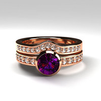 Rose gold ring Engagement set, Amethyst engagement ring, diamond, bezel, wedding  set, half eternity, amethyst ring, purple, curved band