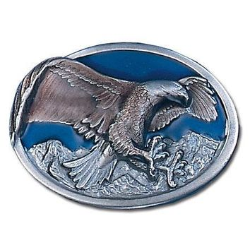 Sports Accessories - Eagle in Oval Enameled Belt Buckle