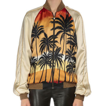 Saint Laurent Palm-Tree Bomber Jacket, Multi Colors