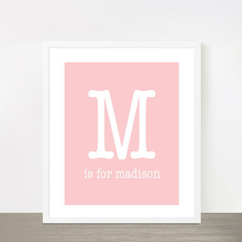 """Letter M is for Madison Blush Pink baby girl name nursery print poster 8x10"""" Monogram print"""